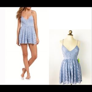 Sam Edelman Evantide Blue Lace Lined Romper